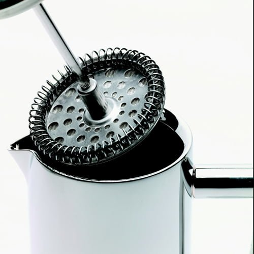 close up of a stainless steel french press