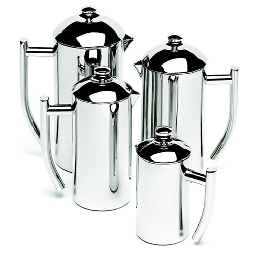 a group of different sized stainless steel french presses